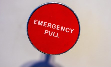 close up of emergency pull